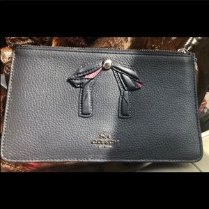 Coach navy blue Crosby refined pebble leatherback